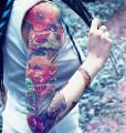 sleeve tattoo for girl - flowers